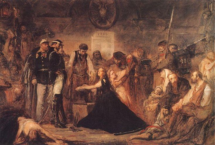 """1863 - Polonia"" by Jan Matejko The aftermath of the failure of the January Uprising. The crowd of captives awaits transport to Siberia. Russian officers and soldiers supervise a blacksmith installing fetters on the wrists of a woman representing Poland. The blonde woman behind her, next in line, may represent Lithuania."