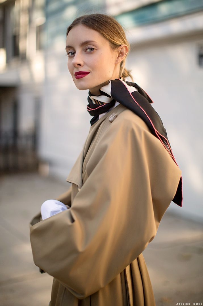 Neutral, Print Scarf & Red lips.