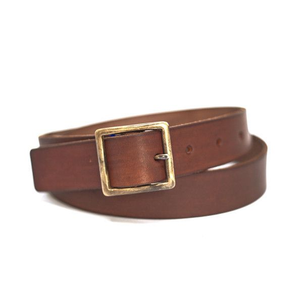half hitch goods . mat brown - brown : hand-made leather belt s m l