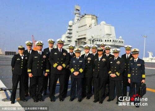 美國海軍艦艇長代表團訪問中國海軍遼寧艦