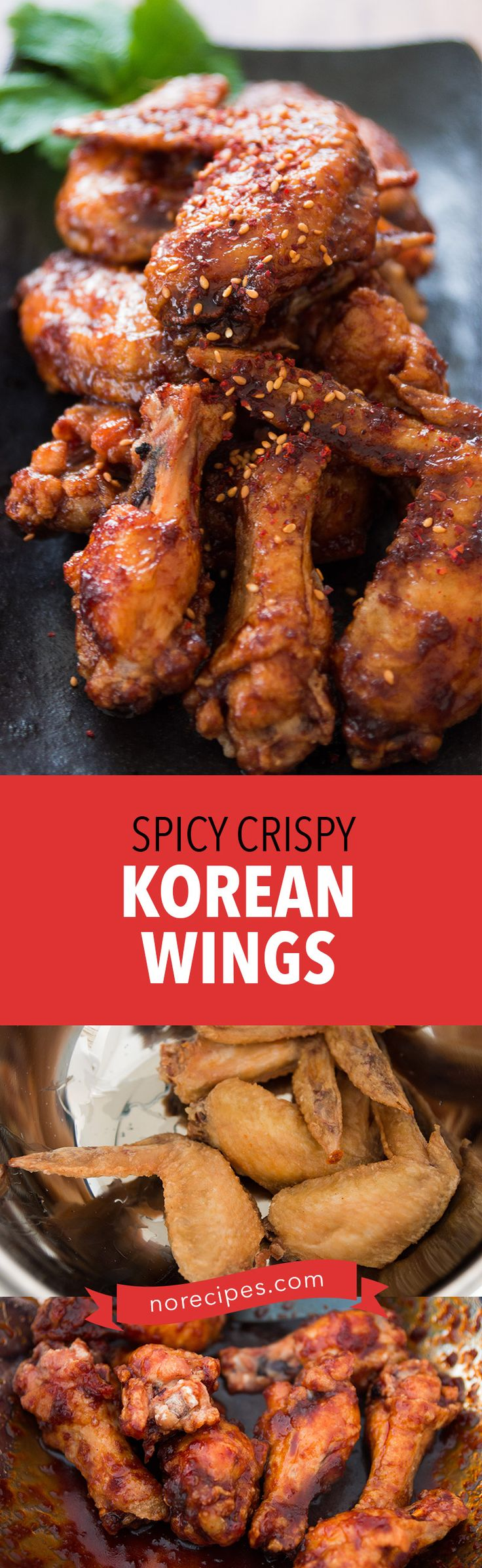 Get the secret to making crackly skinned Korean Fried Chicken (양념치킨) with a sweet and spicy glaze at home with this crispy Korean wing recipe. #friedchicken #koreanfood #wings #partyideas