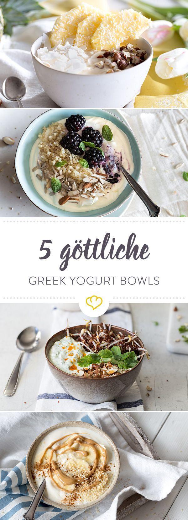 Griechischer Joghurt ist cremig, Kalorienarm und Eiweißreich. Also ein echtes Superfood und wir haben 5 Greek Yogurt Bowls für dich zusammengestellt,