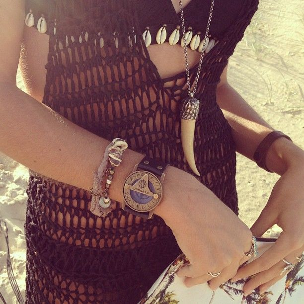 Pandeia watch, horn necklace, shell encrusted bralette. Hot.