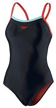 SPEEDO Thinstrap Schwimmanzug Damen schwarz/koralle