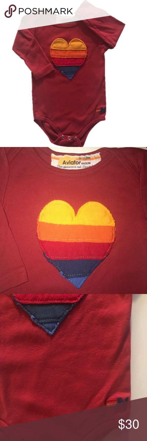 ⭐️ Aviator Nation 6-12mo Heart Onesie One Piece Aviator Nation 6-12mo Heart Onesie One Piece. Adorable! Color is a tomato soup red and comes with store bought distressing in the heart and colors. This is a timeless onesie from an amazing brand. In overall very good used condition. (Bag 187) Aviator Nation One Pieces Bodysuits