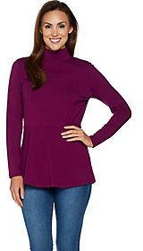 As Is Isaac Mizrahi Live! Knit Mock Neck Long Sleeve Peplum Top
