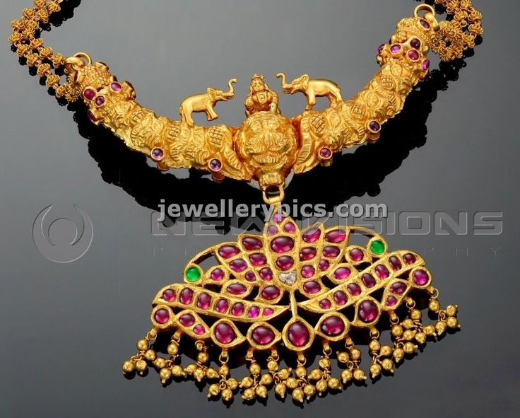gold temple necklace with ruby pendent - Latest Jewellery Designs