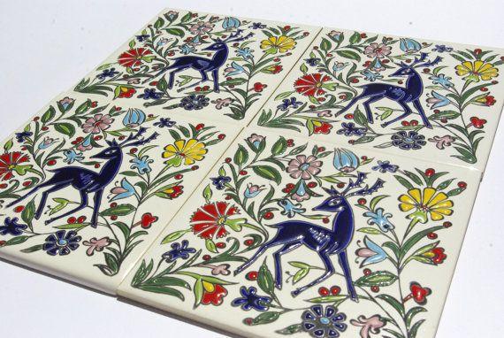 Bohemian Wall Tapestry Trivet Ceramic Tiles by CretanPast on Etsy