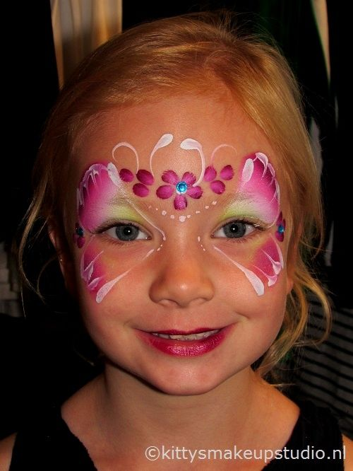 Facepaint kids butterfly flowers in limegreen and pink