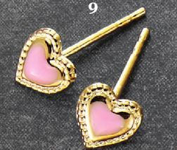 Heart Earrings with Pink Enamel Centre 10K Gold from Sears Catalogue  $29.97