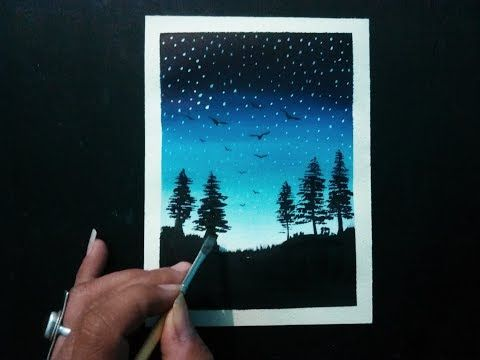 easy painting for beginners night sky step by step landscape painting tutorial youtube