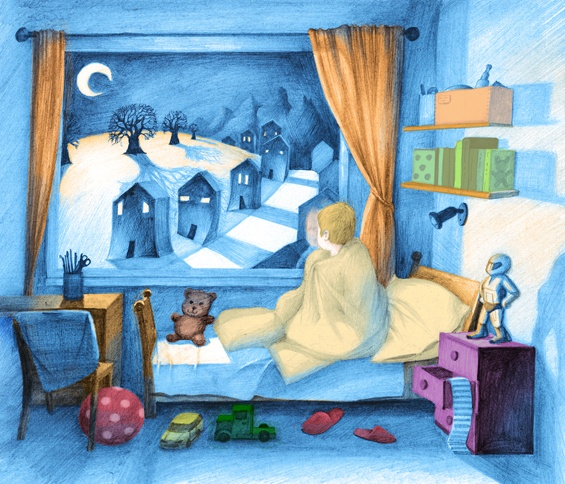 Illustration for Childrens Literature - The Night by Levente Kocsis, via Behance