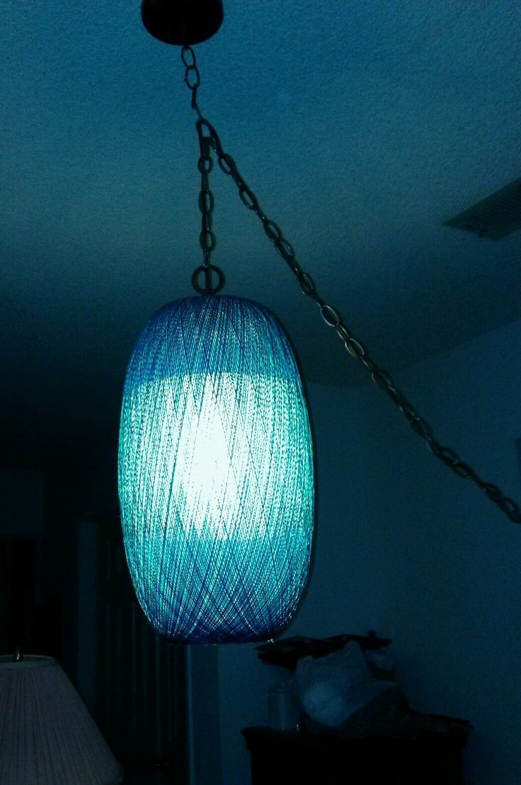 Eames ERA Retro Single Woven Spun Fiberglass Blue Teal Swag Hanging Lamp |  eBay