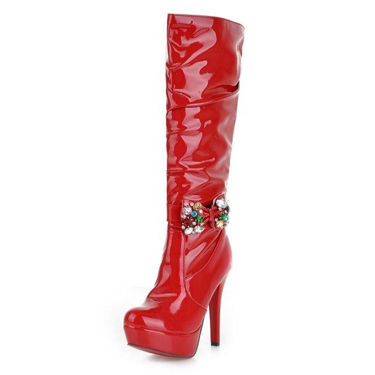 Новое прибытие новое поступление 2013 платформы сексуальные ультра высокие каблуки высокой ног сапоги свадебные туфли свадебные туфли красные сапоги