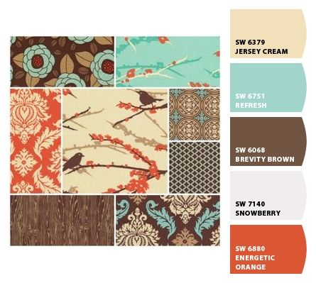 Living Room paint options love these color combinations. I would change the orange to red