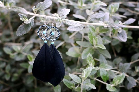 Blue And Black Striped Dream Catcher Earrings by nZuriArtDesigns