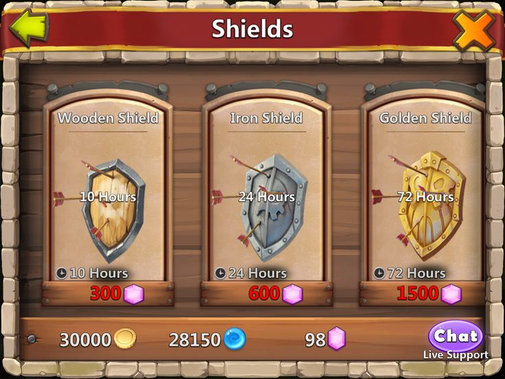 Castle Clash by IGG - Shop Shields - UI HUD User Interface Game Art GUI iOS Apps Games