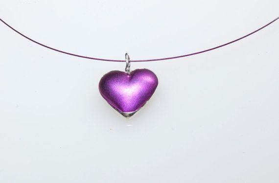 Heart Pendant,Heart Necklace,Titanium Pendant,Magenta Pendant,3D Heart, #Heart Charm,Valentine #gift, Giampouras Collections,#Valentine Gift
