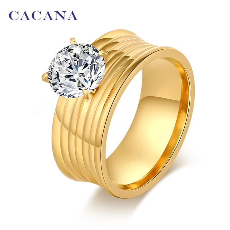 CACANA Stainless Steel Rings For Women  Gold Plated Fashion Jewelry Wholesale NO.R114