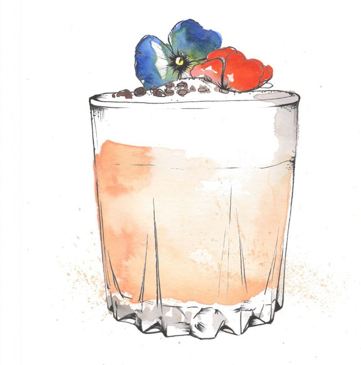 Sicilian Sour Cocktail watercolour illustration.  I love painting cocktails as watercolour and pen and ink works so well creating the glass and liquid. Commission your very own artwork by clicking the link.