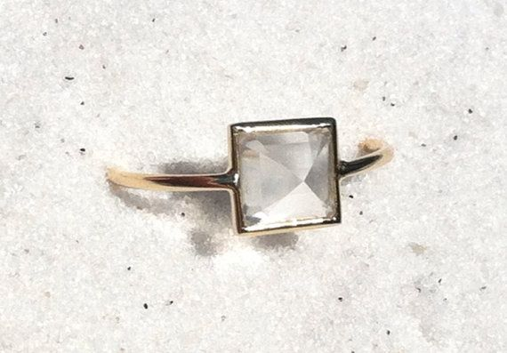 Moonstone pyramid and solid 18k gold ring by YUMILUV on Etsy