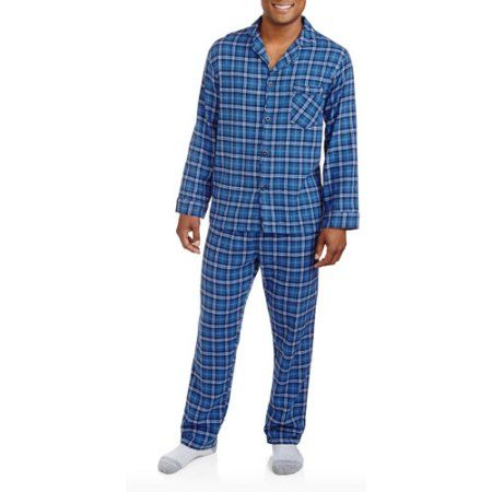Hanes Men`s Flannel Pajamas, 0140/0140X, 3XL, Blue Black Plaid