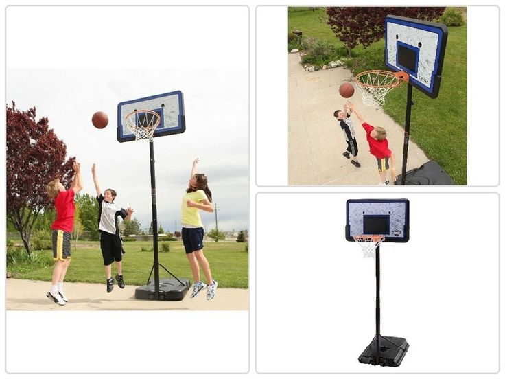 Portable Basketball Hoop 44 In Height Adjustable Portable Basketball System Goal #sports