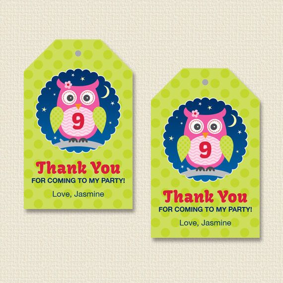 Night Owl Sleepover Party Favor Hang Tags by paperspice on Etsy