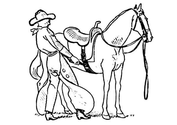 Cowboy Put Saddles Onto Horseback Coloring Page