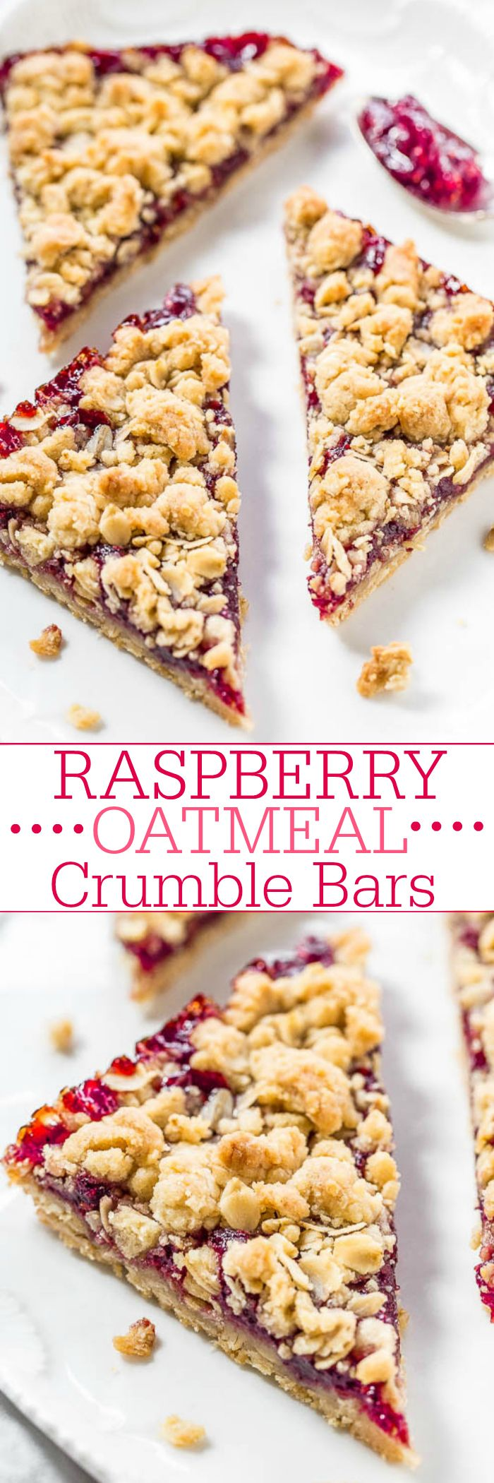 Raspberry Oatmeal Crumble Bars - Fast, easy, no-mixer bars great for breakfast, snacks, or a healthy dessert!! The big crumbles are irresistible! Fresh raspberries not needed so you can make the bars year round!! ~ Averie Cooks
