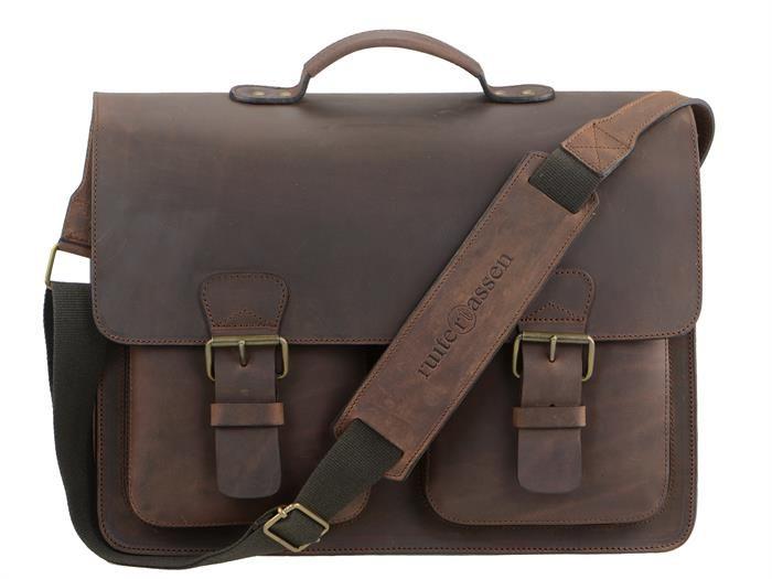 Aktentasche mit 3 Fächern Leder Herren Damen Schultasche Lehrertasche Businesstasche Tasche Umhängetasche ranger braun