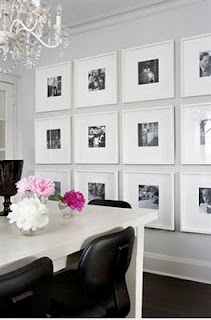 Had this saved in folder on my desktop then found again on pinterest. Love everything from white frames and table to black chairs, pink flowers and chandelier.