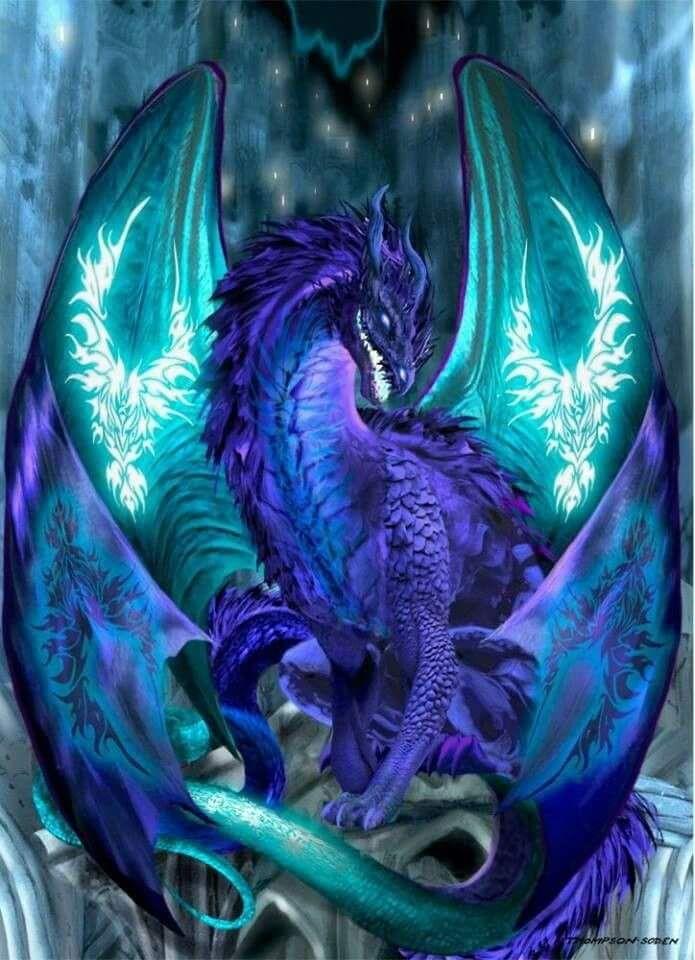Purple Dragon with glowing wings.