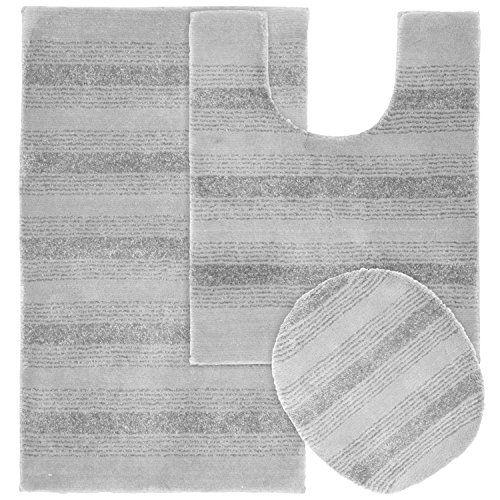 Garland Rug 3-Piece Essence Nylon Washable Bathroom Rug Set Platinum Gray