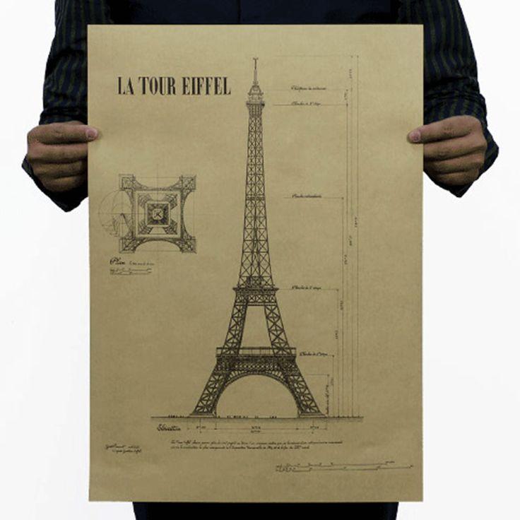 Романтический Париж город Ретро старинные плакат декоративные Эйфелева Башня живопись Художественная Галерея musemn
