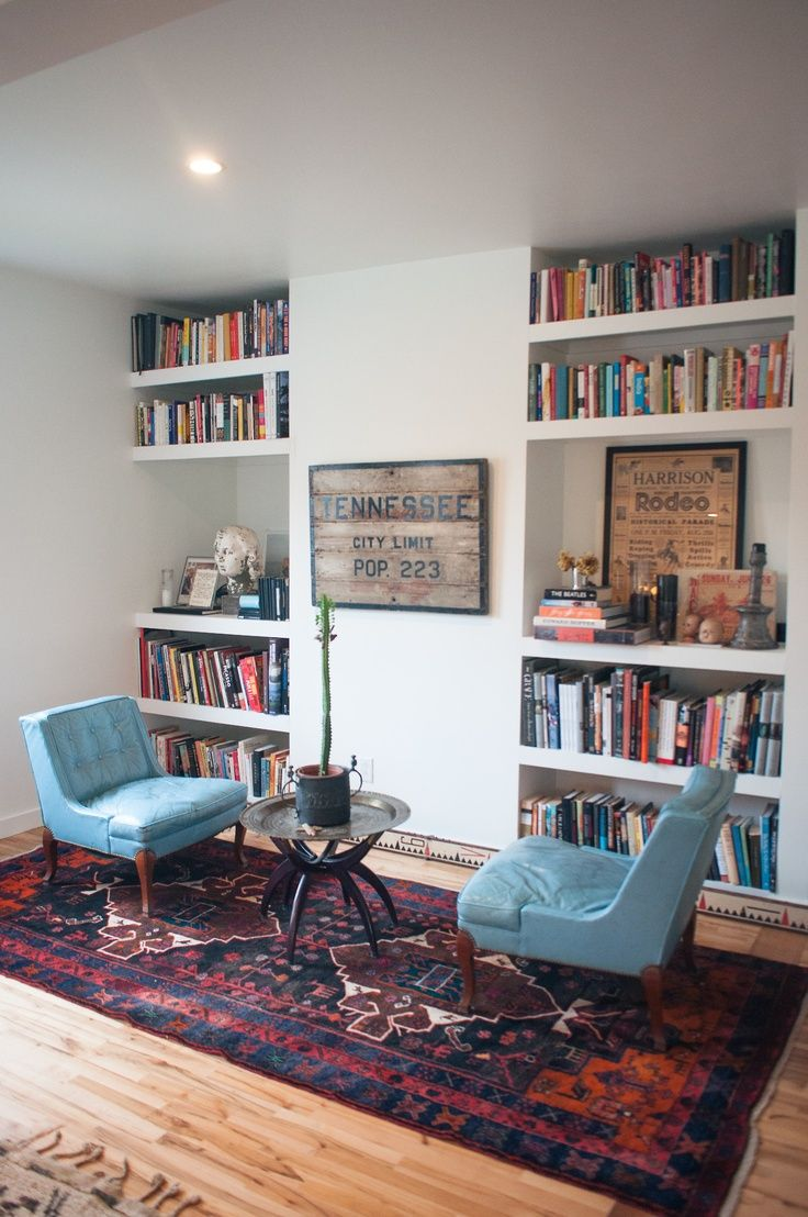 Simple+stylish+built-in+wall+home+library+design