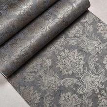 Clásico de Lujo Victoriano Patrón Brillo De Bronce Metálico Papel de Pared papel Pintado del Damasco No tejido de Carbón Marrón Oscuro