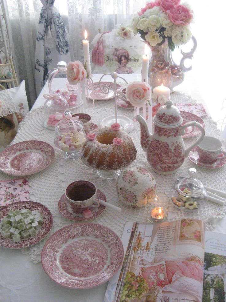 Table set with red transferware