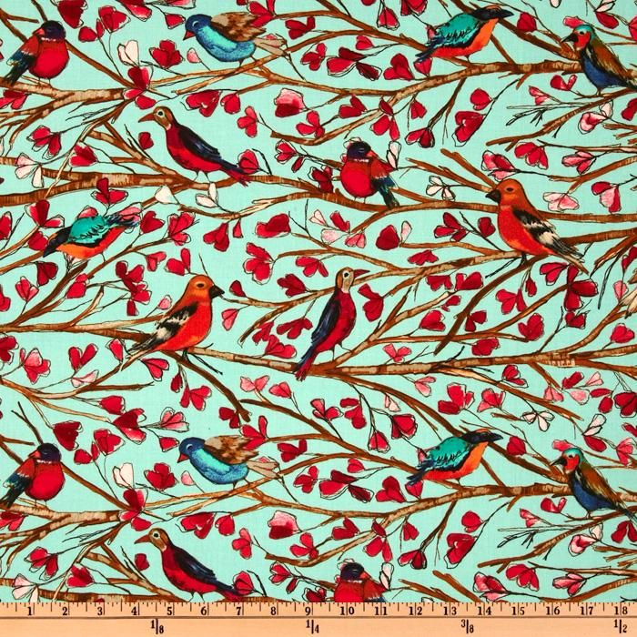 Michael Miller Garden Walk Wing Song Aqua  I have literally been looking for this fabric for FOREVER