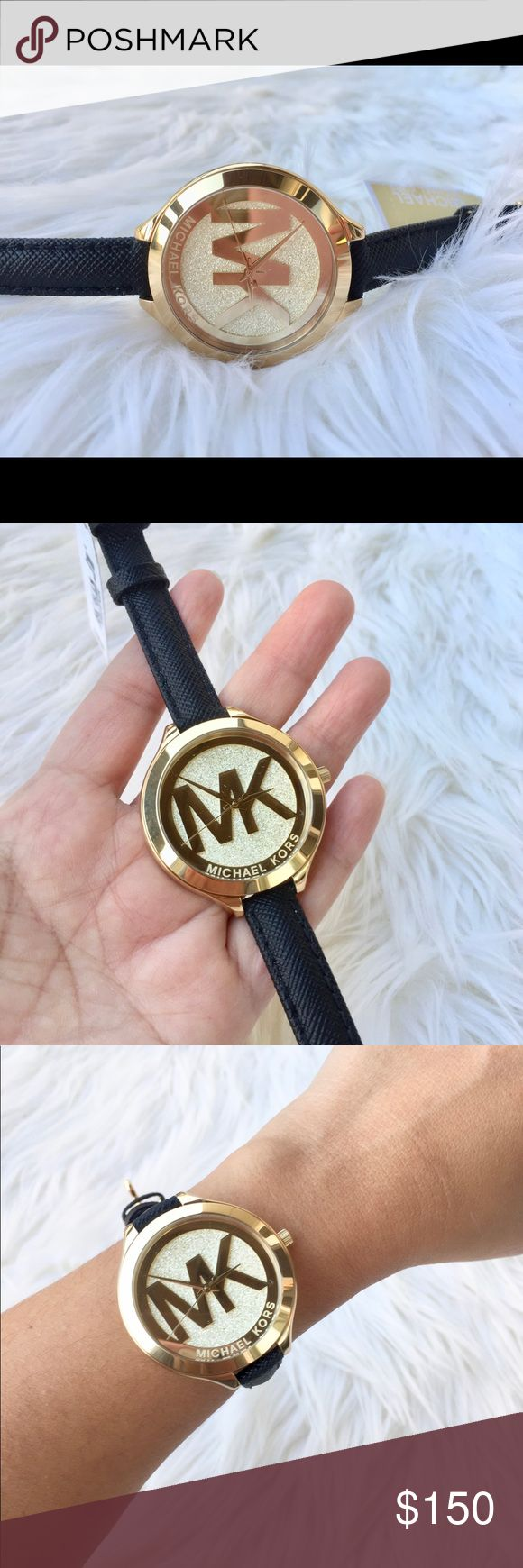 Michael Kors Round shape analog crystal Dial NWT! MICHAEL KORS MK2392 ROUND SHAPE ANALOG CRYSTAL FACE LADIES WATCH BRAND NEW!!!!!100% Genuine and Authentic. *Black saffiano leather strap. *Gold-tone Stainless Steel case. *Gold-tone dial with crush pave accents, gold-tone hands and logo. *Quartz movment. *Water resistant to 50 meters.  *Case 42mm.                                          Pictures are taken from the actual item !! Watch comes with original MK box and MANAUL Michael Kors…
