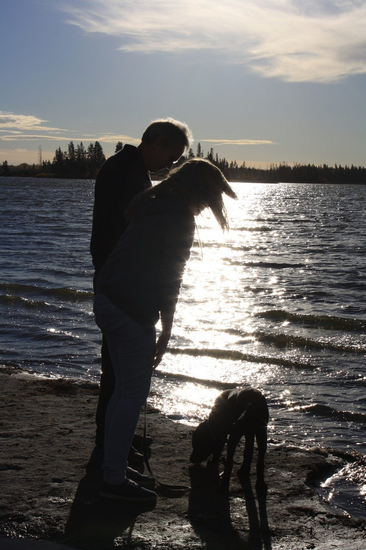 Alec, Sam and Jazz at Elk Island, Alberta, Canada (Photo by Anita, October 2011)
