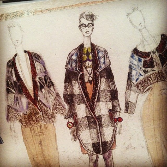 Fashion Sketchbook drawings - designing a fashion collection; fabric pattern, colour & texture detail