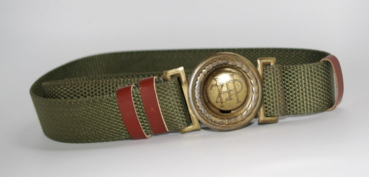 Vintage Soviet Era Polish Scout Canvas Belt with Metal Buckle, Military belt, 80s Army belt, army green men's belt women's belt green belt