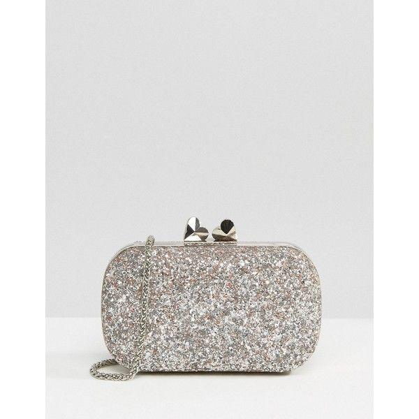 Coast Bijou Glitter Box Bag (£35) ❤ liked on Polyvore featuring bags, handbags, clutches, gold, chain strap purse, glitter handbag, clasp handbag, chain-strap handbags and coast handbags