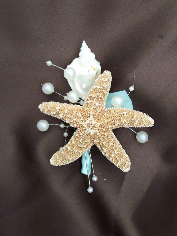 Aqua blue sea shell boutonniere tiffany wedding by UptownGirlzz