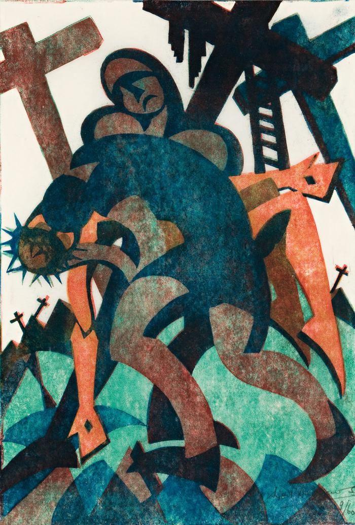 Sybil Andrews Joseph and Nicodemus, 1932 27.5 x 18.5 cm colour linocut