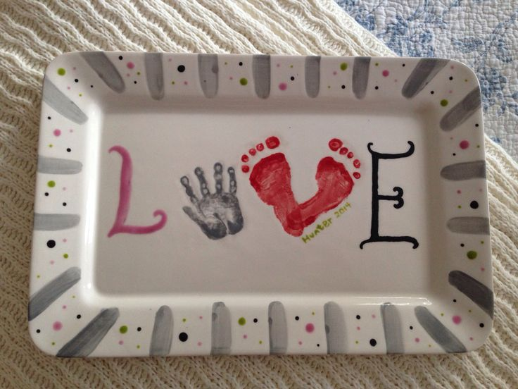 Valentines Day Baby Hand & Foot Print Love Plate