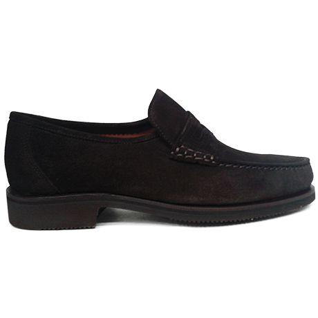 Zapato mocasín beefroll con antifaz en ante marrón en ancho 14 de Tiamer vista lateral