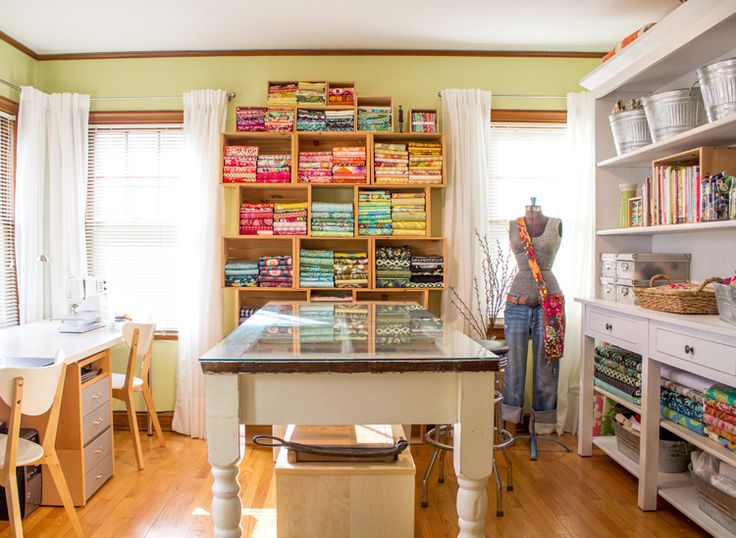 Sunny Sewing Room with how to on folding fabric - Beautiful fabric storage!