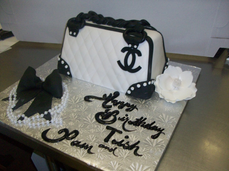 Calumet Bakery  Chanel Purse on large silver board with gum paste flower